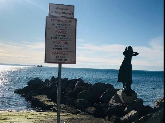 """Riposizionato il cartello situato davanti alla statua di Barcola che raffigura la """"Mula de Trieste"""""""
