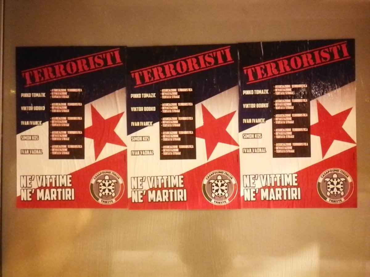 Parco della Pace a Opicina, Casapound: «Commemorati terroristi, mettevano bombe in scuole e asili»