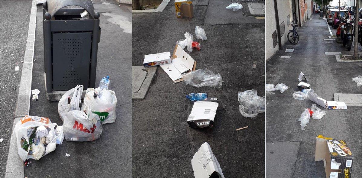 Degrado in via della Concordia a San Giacomo, immondizie e sacchi pieni sul marciapiede (FOTO)